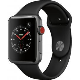 Apple Watch Series 3 38mm GPS + Cellular, Space Gray Aluminum Case - Black Sport Band