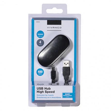 USB HUB Vivanco 36659, MicroUSB, 4x USB, Black