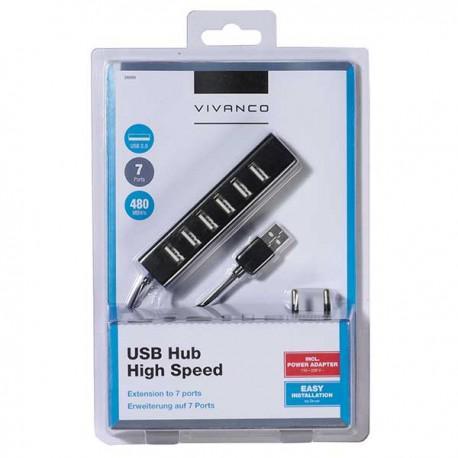USB HUB Vivanco 36661, USB, 7x USB, Black + Charger 5V 2A