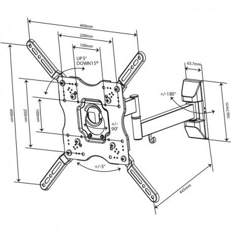 Въртяща се стойка за телевизор с две рамена Vivanco 37980 до 55