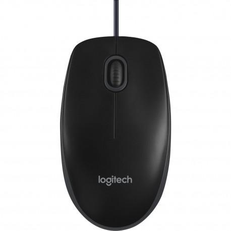 Кабелна оптична мишка Logitech B100 black