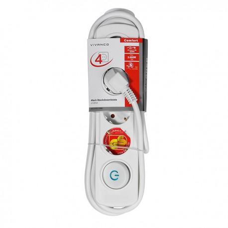 Power strip Vivanco 37645, 4 sockets, 2.5m cable, white - 2