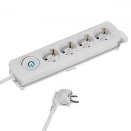 Разклонител Vivanco 37643, 4 гнезда, 1.4м кабел, бял