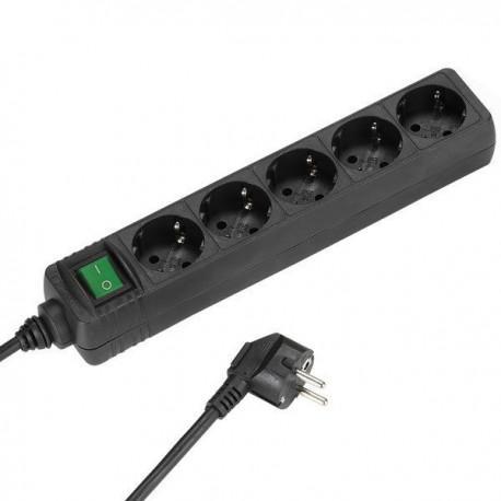 Разклонител Vivanco 27017, 5 гнезда, 1.4м кабел, черен