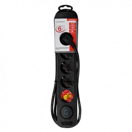 Power strip Vivanco 37648, 6 sockets, 1.4m cable, black - 2