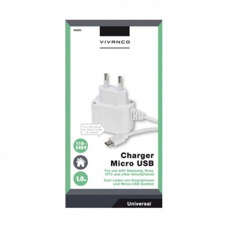 Charger Vivanco 36265, 1A, Micro USB, 1m, white - 2
