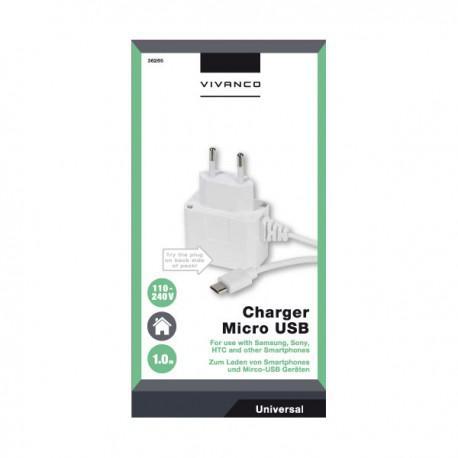 Зарядно устройство Vivanco 36265, 1A, Micro USB, 1m, бяло - 2
