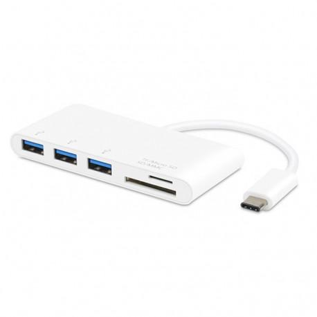 Type-C разклонител Vivanco 34295, 3x USB 3.1, SD/MMC, Micro SD, Бял