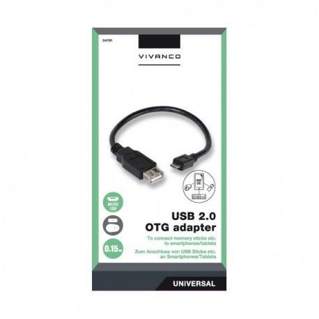 OTG адаптер от Micro USB към USB женско Vivanco 34761, 0.15м, черен - 2
