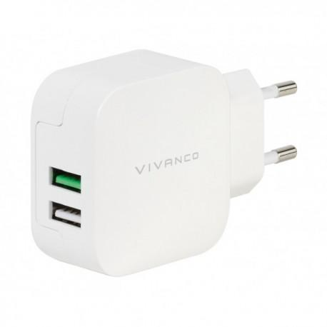 Зарядно устройство Vivanco 37563, 2,4A/1A, 2x USB