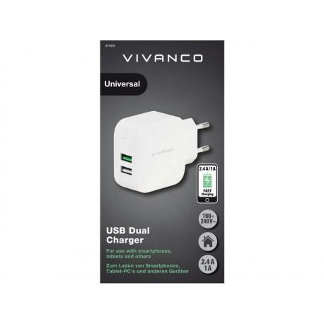 Зарядно устройство Vivanco 37563, 2,4A/1A, 2x USB - 2