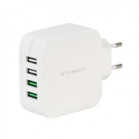 Зарядно устройство Vivanco 37564, 4.8A, 4x USB