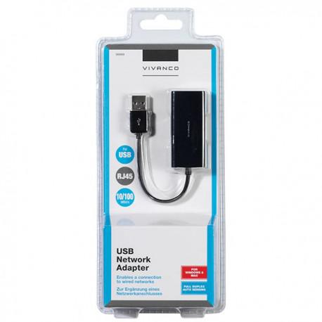 Мрежови адаптер Vivanco 36669, USB2.0 A(м) към RJ45(ж), 100Mbps