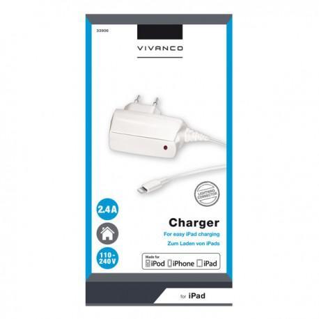 Зарядно устройство Vivanco 33906, 2.4A, Lighning, за iPhone/iPad, 1m, бяло - 2