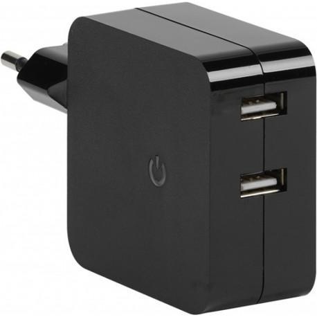 Зарядно устройство Vivanco 35984, 2x2.4A Dual USB, Black