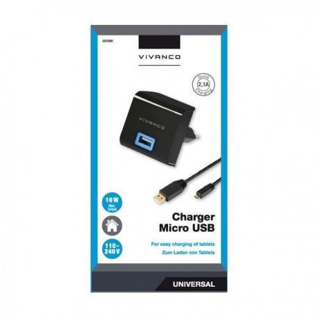 Зарядно устройство Vivanco 35586, 2.1A Quick Charging, MicroUSB, 1m - 2