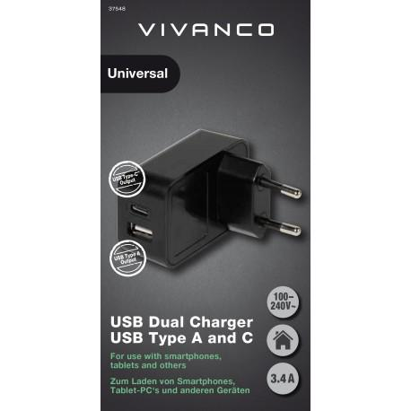 Зарядно устройство Vivanco 37548, 3.4A, USB Type-A, Type-C - 2