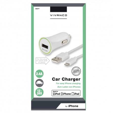 Car charger Vivanco 36277, 2.4A, Lightning, 12V/24V - 2