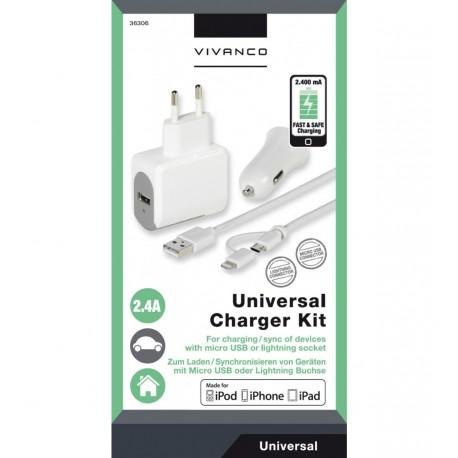 Universal charger kit Vivanco 36306, 2x 2.4A, 100-240V, 12V/24V - 2