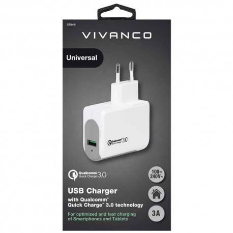 Зарядно устройство Vivanco 37546, 3A, Qualcomm Quick Charge 3.0, USB - 2