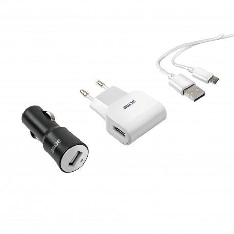 Universal charger kit ACME CH13, 2x1A, 100-240V, 12V/24V