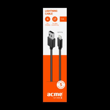 Cable ACME CB1031, Lightning, USB, 1m, Black - 2