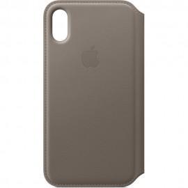 Apple Leather Folio Case (MQRY2ZM/A) оригинален кожен (естествена кожа) калъф за iPhone X и iPhone XS (кафяв)