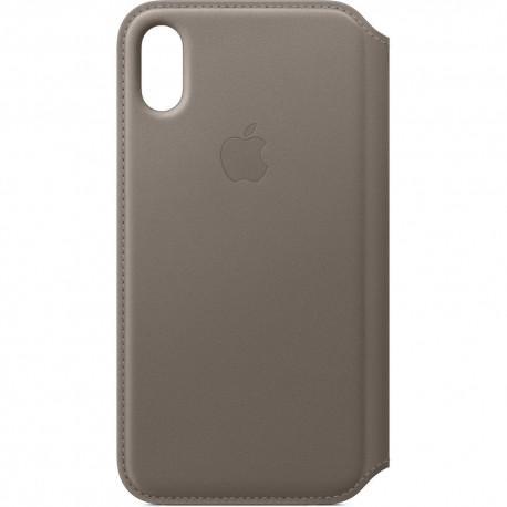 Apple Leather Folio Case (MQRY2ZM/A) оригинален кожен (естествена кожа) калъф за iPhone X и iPhone XS (кафяв) - 2
