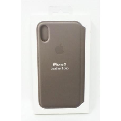 Apple Leather Folio Case (MQRY2ZM/A) оригинален кожен (естествена кожа) калъф за iPhone X и iPhone XS (кафяв) - 4