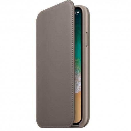 Apple Leather Folio Case (MQRY2ZM/A) оригинален кожен (естествена кожа) калъф за iPhone X и iPhone XS (кафяв) - 3