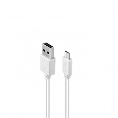 Кабел ACME CB1011W, Micro-USB, USB, 1m, Бял