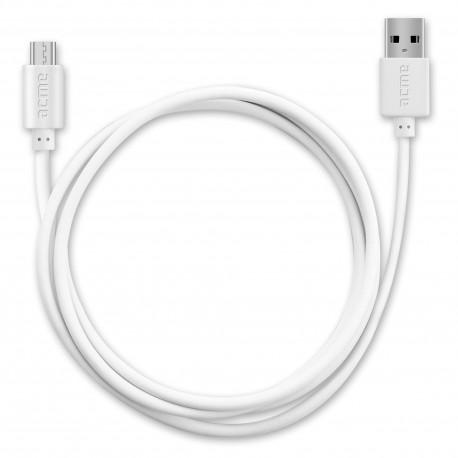Кабел ACME CB1011W, Micro-USB, USB, 1m, Бял - 2