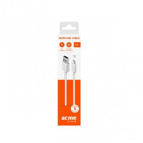 Кабел ACME CB1011W, Micro-USB, USB, 1m, Бял - 3