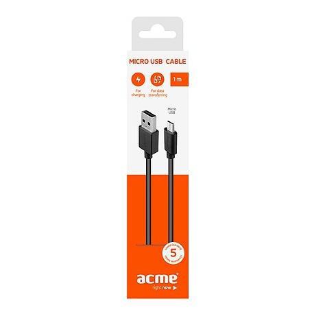 Кабел ACME CB1011, Micro-USB, USB, 1m, Черен - 3