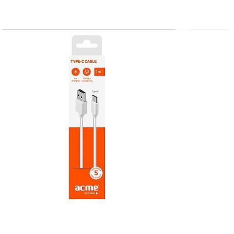 Кабел ACME CB1041W, Type-C, USB, 1m, Бял - 3