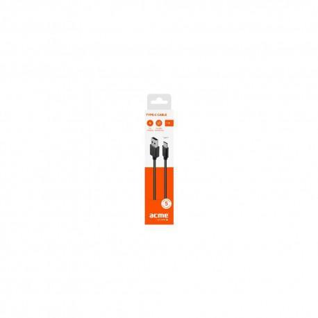 Кабел ACME CB1041, Type-C, USB, 1m, Черен - 3