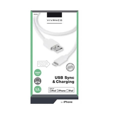 Cable Vivanco 36299, Lightning, USB, 1.2m, White - 3