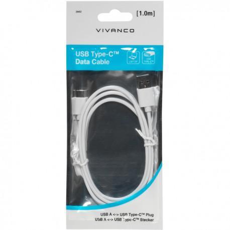 Кабел Vivanco 39452, Type-C, USB, 1m, Бял - 3
