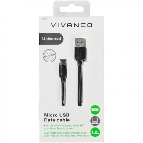 Cable Vivanco 36251, MicroUSB, USB, 1.2m, Black - 2