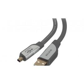 Кабел BELKIN CU1300VDU06-G, mini-USB 4 pin, USB, 1.8m, Черен